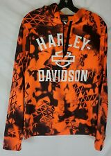 Harley-Davidson Men Large Hi-Vis Safety Orange Sublimated Hoodie Sweatshirt New
