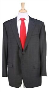Hickey-Freeman Current Beacon Model Green/Black Plaid 2-Btn 150's Wool Suit  46L