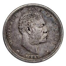 1883 Kingdom of Hawaii Silver Half Dollar (VF, Very Fine) Kalakaua 50c Hapalua