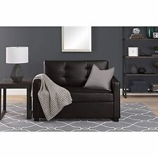 Sleeper Sofa Twin On Sale For Small Spaces Kids Memory Foam Faux Leather Brown