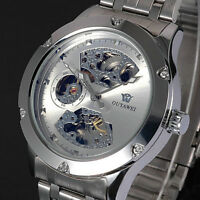 Silver Skeleton Analog Men Mechanical Automatic Wrist Stainless Steel Band Watch