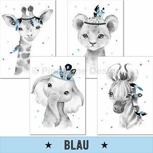 Kinderzimmer Poster Deko Kinderbilder Baby Junge Tiere Wandbilder Bilder blau