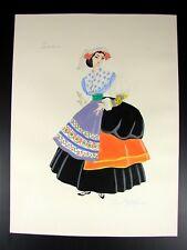 19th C Original Lazio Italy Popular Costume Watercolor Hand Signed May L. Farini