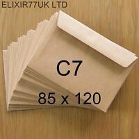 C7 A7 100gsm BROWN KRAFT ENVELOPES 4 CARD PAPER WEDDING CRAFTS MAKING SMALL MINI