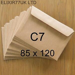 C7 A7 100gsm BROWN KRAFT ENVELOPES 4 CARD PAPER WEDDING CRAFTS MAKING SMALL MINI