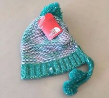 NEW! Girls' THE NORTH FACE CLQ1 'Flecka' Purple Green Earflap Knit Pom Beanie, M