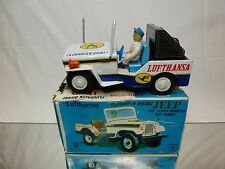 ICHIKO JAPAN TIN TOY 71974 JEEP CJ5 CJ7 LUFTHANSA - WHITE L20.0cm  - GOOD IN BOX