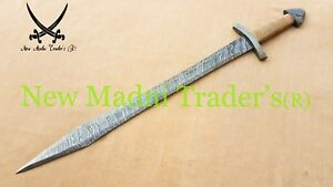 "35"" DAMASCUS FIRE PATTERN (D) POMMEL DOUBLE SHADED WRAP WIRE HANDLE VIKING SWORD"
