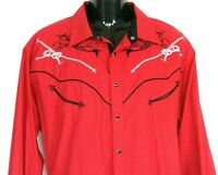 Ace of Diamond Mens Cowboy Rodeo Western Shirt XXXL Red Black Contrast Snap Up