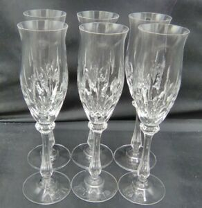 """Set of 6 MIKASA NORMANDY 8.5"""" Fluted Champagne Glasses Ribbed Stem Tulip Shaped"""