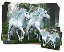 Two White Unicorns Twin 2x Placemats+2x Coasters Set in Gift Box, UC-1PC