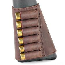Shotgun Buttstock 6 Shell Holder Leather Cartridge 12 GA Brown Ammo Rifle Retro