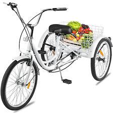 """Adult Tricycle 3-Wheels Trike 24"""" 7-Speed Bike Tricycle V-brake 240Lbs CA"""