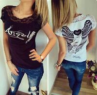 Damen Engel Flügel Sommer Kurzarm Top T-shirt Blusen Spitze Oberteil 34-40 BC261