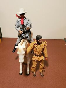 Vintage 1973 Gabriel Lone Ranger and Tonto Action Figures And horses **RARE**