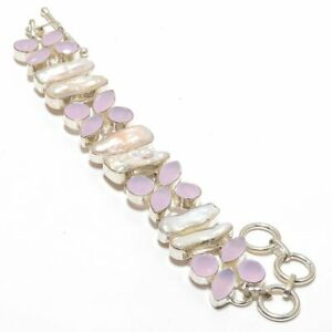 Faceted Rose Quartz & Biwa Pearl Gemstone Silver Gift Jewelry Bracelet B-8859