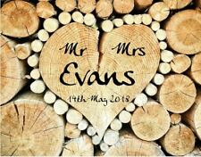 Personalised metal Wedding sign Mr and Mrs Metal A4 custom wooden heart image