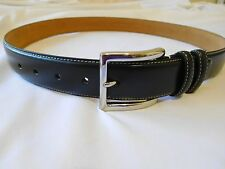 Cole Haan Mens Black Belt 40 Leather Feather Edge Smooth Panel New Stich