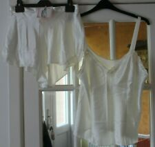 LADIES CREAM SILK FEEL CAMI TOP WITH MATCHING FRENCH KNICKERS FROM M&S SIZE 22