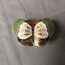 Cloisonné Butterfly Trinket Box enamel on metal engagement ring jewelry Oriental