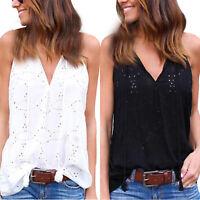 Womens Oversized Summer Hollow V-Neck Vest Tank Tops Sleeveless T Shirt Blouse