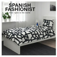IKEA SKUGGBRÄCKA Quilt cover and pillowcase, white, black, 150x200/50x60 cm
