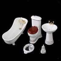 1/12th White Ceramic Toilet Set Bathroom Miniature Dollhouse Furniture Accessory