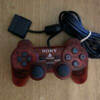 Genuine Sony Playstation Dualshock 2 Analogue Controller Transparent Red PS2