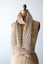 Women's Scarf tan fine wool chevron pleated wrap