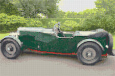 "1932 Aston Martin Old Classic Green Car - Cross Stitch Kit 12"" x 8"" - 14 Count"