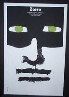 ZORRO / Cuban Silkscreen Movie Poster by CUBA Master Artist BACHS / ITALY FRANCE