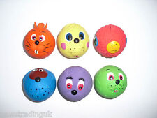 12 x Latex FACE BALL Dog TOY Puppy  Tennis Ball Sized Soft face ball squeak