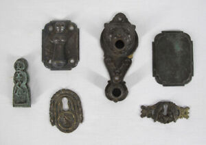 Antique 6 19th C Keyhole Escutcheons One Signed Joseph Nock PHILADA yqz