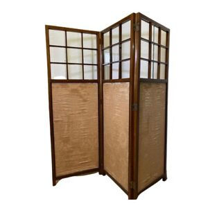 Victorian Three Fold Screen With Glass Panels