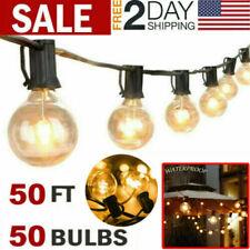 50ft Outdoor String Lights Patio Yard Garden Lighting Waterproof G40 Globe Bulbs