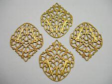 Raw Brass Drops Victorian Style Earring Findings Filigree  - 4