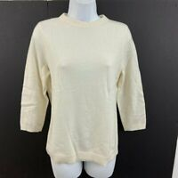 Talbots  Size M Petite The Classics  Cashmere Sweater Beige 3/4 Sleeve MP NWT