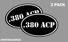 """.380 ACP oval Ammo Can -2 PACK - 5""""x3"""" Oval .380 ACP Vinyl Sticker Decal"""