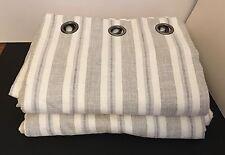 "Laura Ashley Brampton Stripe Dove Grey Curtains 111"" 282cm W 84"" 213cm L Eyelet"