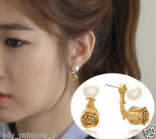 Gold Rose Flower Imitation Pearl 18k Yellow Gold Stud Fashion Earrings Romantic
