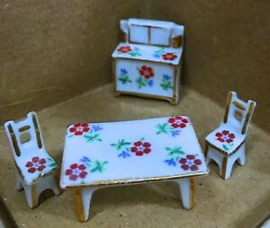 Rare Limoges Dollhouse Miniature  Hand-painted Porcelain Kitchen Set