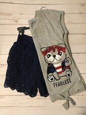 Justice size 12 outfit - short sleeve top, lace shorts Navy Gray , Dog print