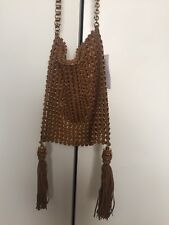 NWT TORY BURCH Runway Boho Weaved Brown Suede Purse Pearl Detail One Of A Kind!