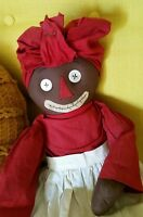 RARE Old Homemade Cloth Raggedy Black BELINDY Doll w Orig Outfit Clothes
