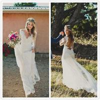V Neck Lace Boho Bridal Gown Beach Backless Wedding Dress 2 4 6 8 10 12 14 16+