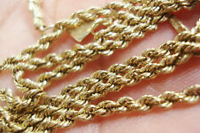 "Beautiful 14K Real yellow Gold diamond ROPE CHAIN 24.5"" long unisex MUST SEE"