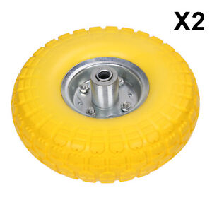 """2pcs 10"""" YELLOW SACK TRUCK TROLLEY SOLID RUBBER REPLACEMENT WHEEL TYRE"""