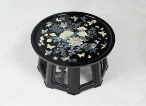 Round Featured Wooden Flower Butterfly Small Dining Table New Korea Tradition An