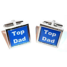 Gift Pouch Fathers Day Birthday Present Blue & White Top Dad Cufflinks With