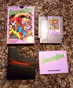 RARE NES GAME BOULDER DASH BOXED INSTRUCTIONS PLASTIC SLEEVE TESTED NINTENDO